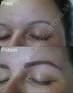 Permanentný make-up obočia čiarkovaná metóda