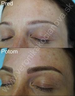 Permanentný make-up tetovanie obočia čiarkovaná metóda Veronika Kocianová Bratislava